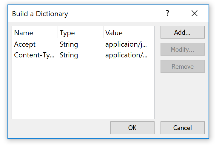 Two strings are added to build the dictionary