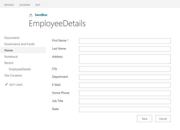 New item form for SharePoint custom list
