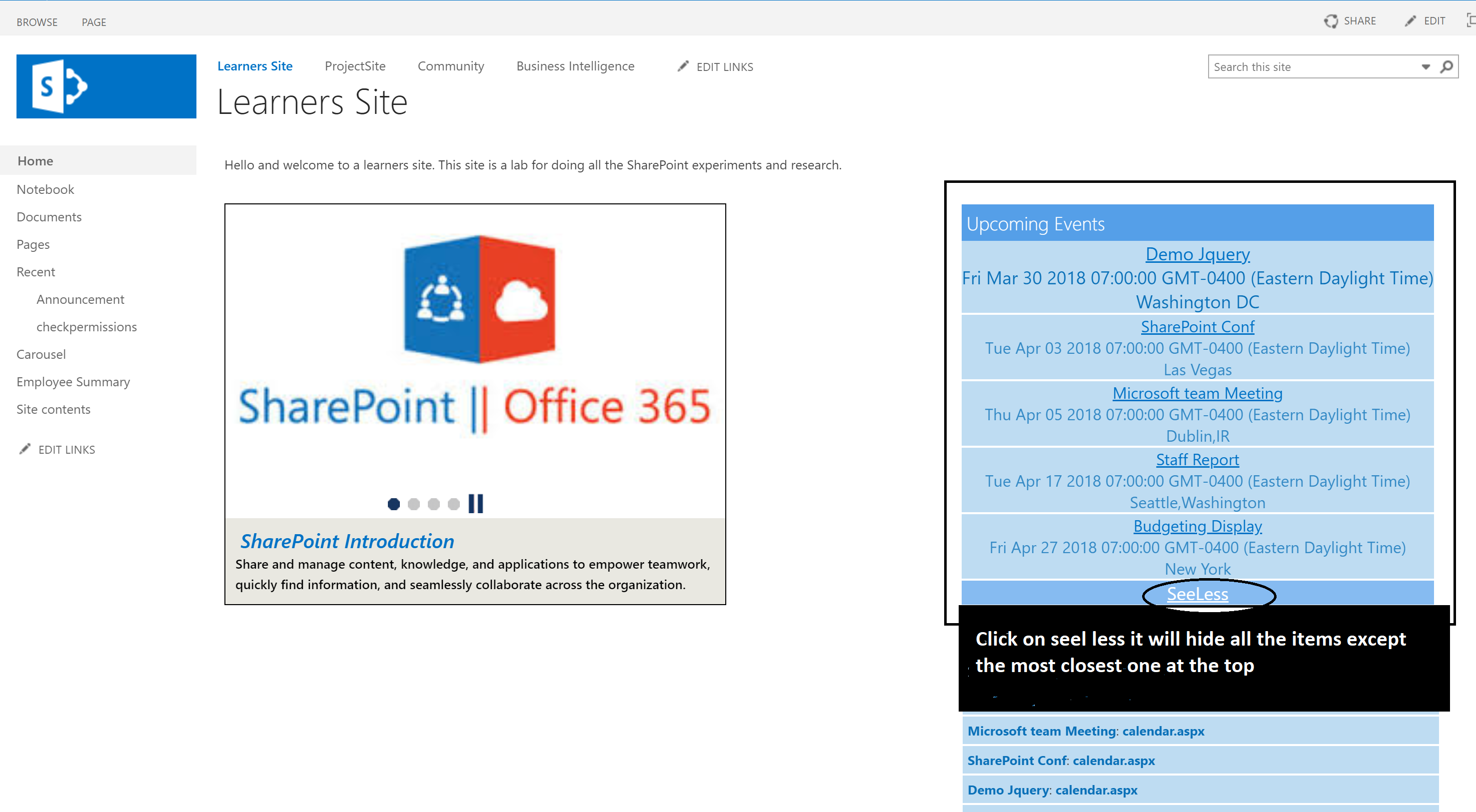 Display SharePoint Calendar events in home page using Jquery